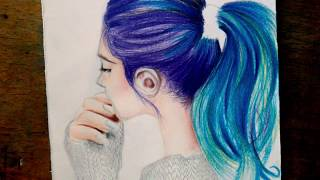 pencil colored drawing hair easy tutorial