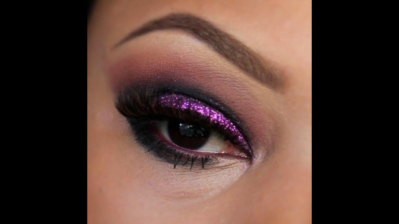 Purple Glitter Shadow Tutorial with Tarte / Peaches Makeup ...