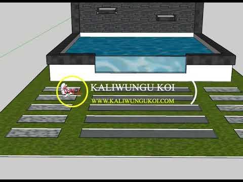 desain kolam koi minimalis dengan 2 waterfall - youtube