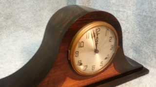 Antique Gilbert 1807 Chime Tambour Mantle Clock W/ Wood Inlay