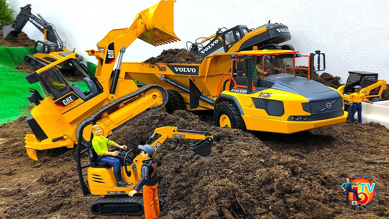 bruder toys story new volvo dumper in action youtube. Black Bedroom Furniture Sets. Home Design Ideas
