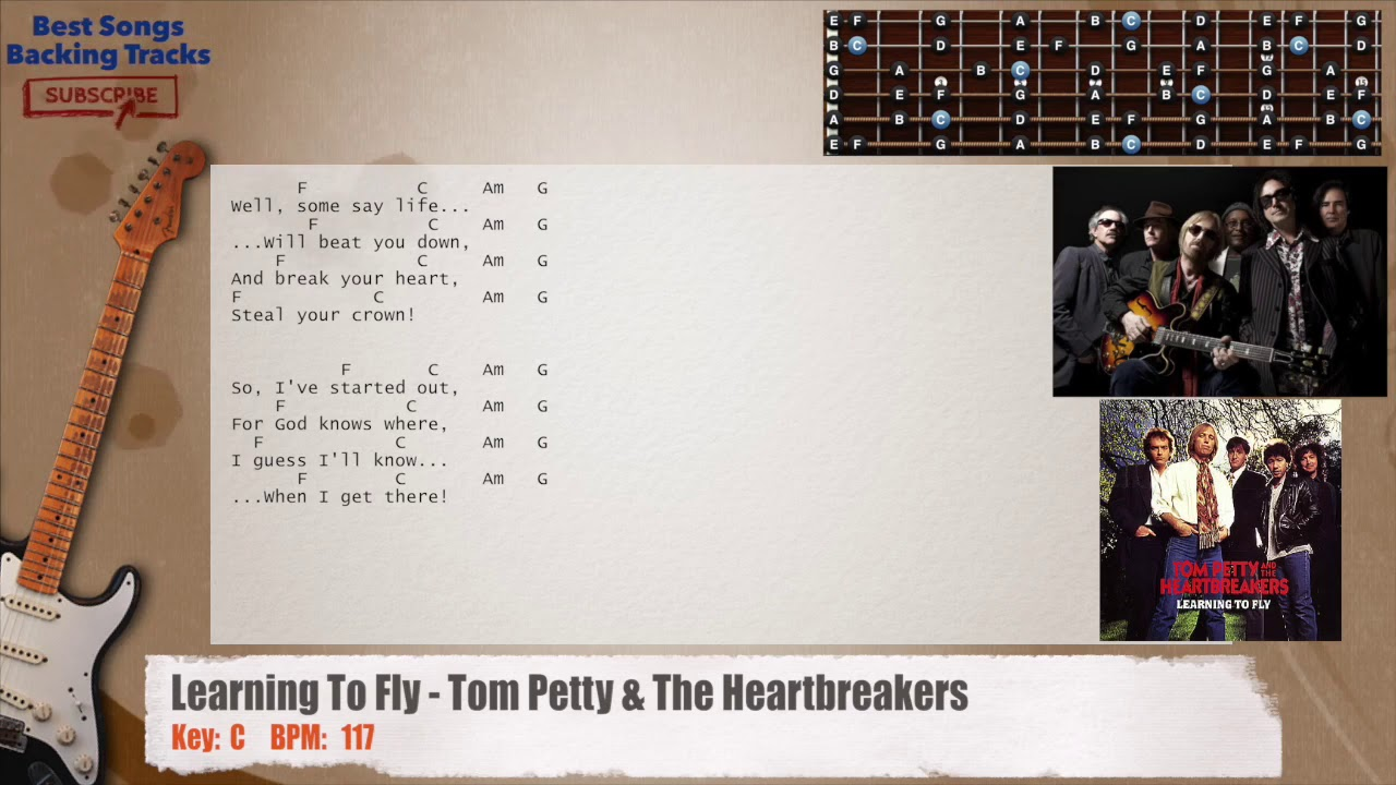 learning to fly tom petty the heartbreakers guitar backing track with chords and lyrics. Black Bedroom Furniture Sets. Home Design Ideas