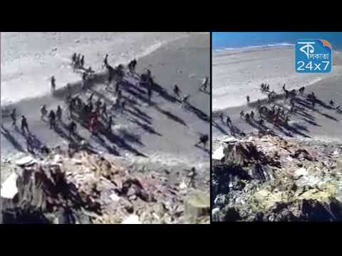 Indian and Chinese soldiers fighting with kicks and stones in Ladakh