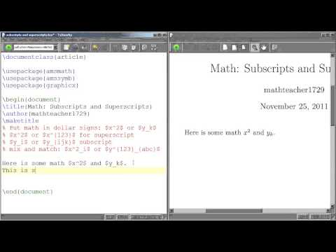 LaTeX Tutorial 04 Subscripts And Superscripts
