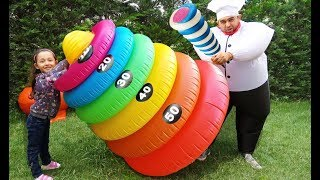 Learn Colors with Swimming Ring Toss Giant cook and Öykü fun kid video