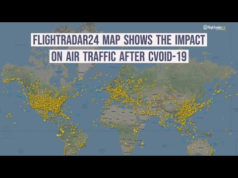Flightradar24 map shows the impact on air traffic after CVOID-19
