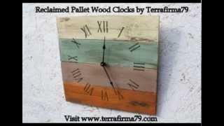 Reclaimed Rustic Pallet Wood Clocks By Terrafirma79 (www.terrafirma79.com)