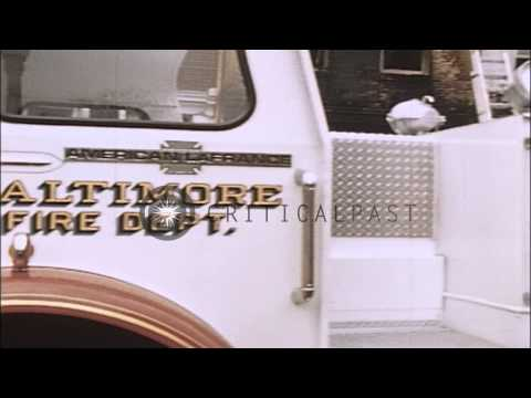 Firemen set up their trucks and equipment after the Baltimore Riots in Baltimore,...HD Stock Footage