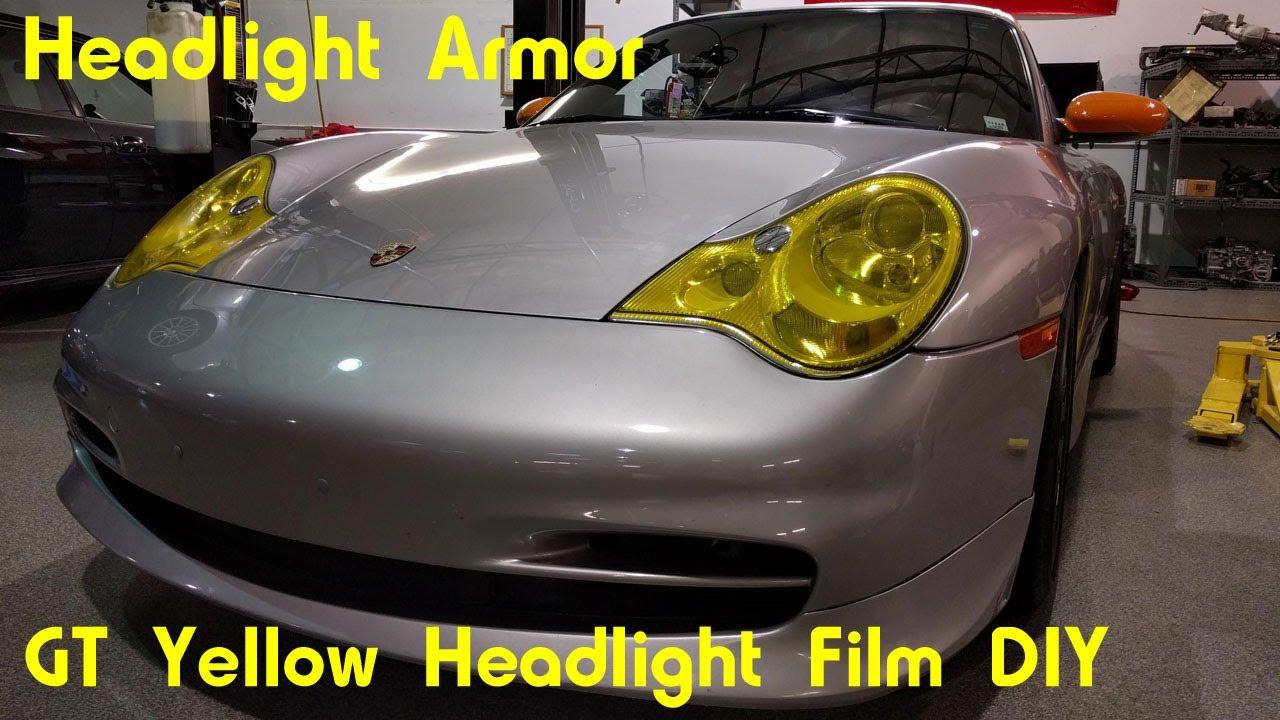 GT Yellow Headlight Protection Tint Film DIY , Porsche 996 911 , Headlight  Armor