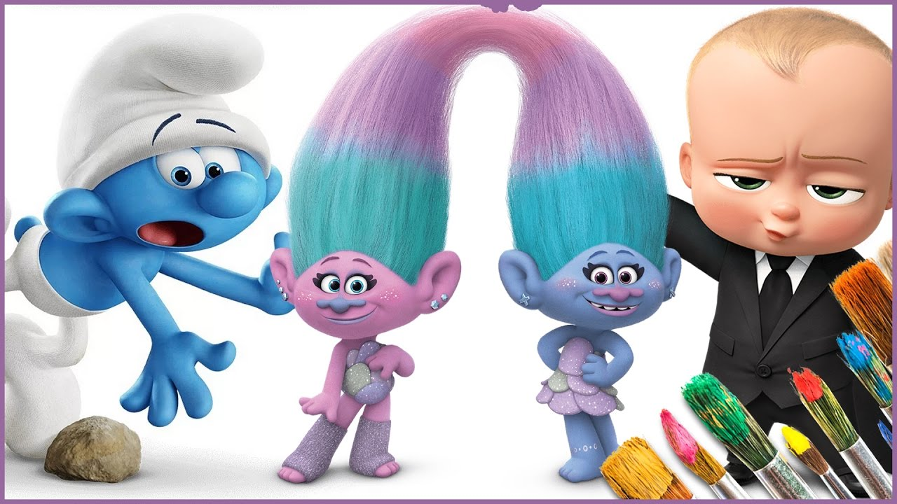 Coloring Smurfs Trolls Movie The Boss Baby Coloring Pages For