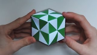 Origami Pinwheel Cube. (Instructions) (Full HD)