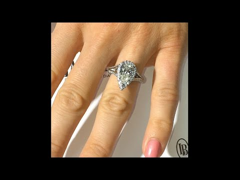 2 Ct Pear Shape Diamond Ingagement Ring In Halo Split Band
