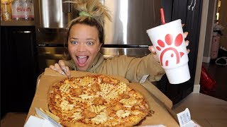TRYING NEW! CHICK-FIL-A PIZZA!  MUKBANG