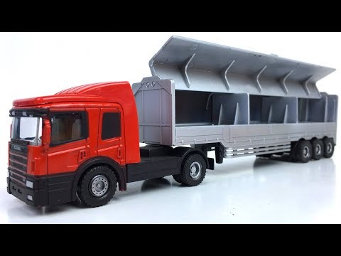 UNBOXING AGLED TOYS ALLOY TRUCK SEMI TRACTOR & STORY WITH DISNEY CARS HOT WHEELS MIGHTY MACHINES