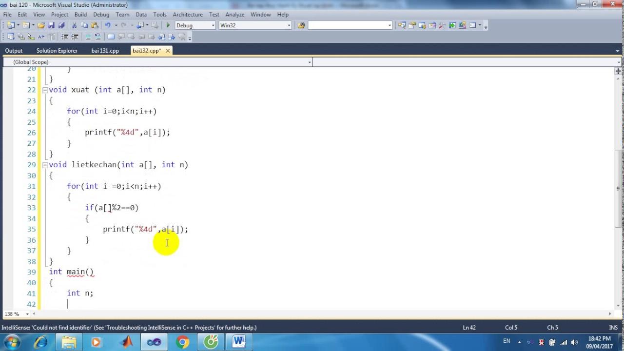 Bài 132: Viết hàm liệt kê các giá trị chẵn trong mảng 1 chiều các số nguyên