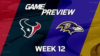 Houston Texans vs. Baltimore Ravens | NFL Week 12 Game Preview