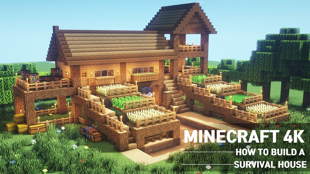 Minecraft Large Oak Survival Base Tutorial How To Build A Survival House In Minecraft 108 Youtube