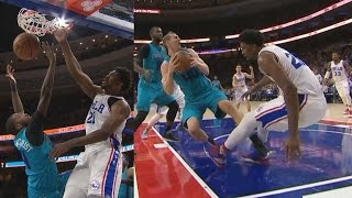 Joel embiid dunks on michael kidd-gilchrist! blocks zeller's dunk hornets vs 76ers