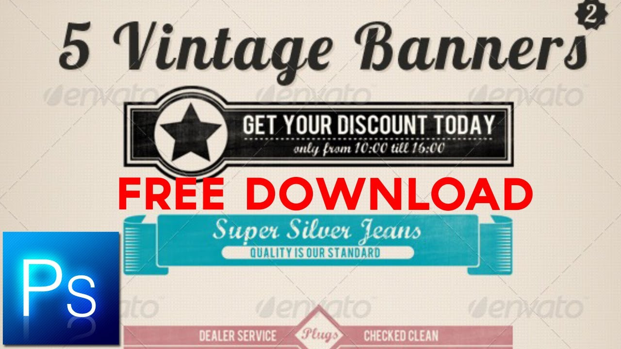 5 vintage retro free photoshop banners v.1 - youtube, Powerpoint templates
