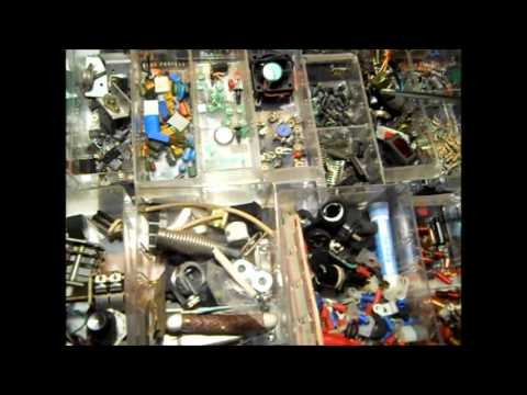 CB RADIO PARTS CABINET ( Stuff collected for over 20 Years )