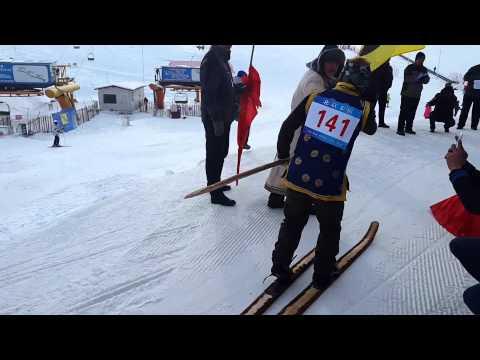 Altay (Xinjiang, China) Celebrating old folk skiing. Single and relay race (2015)