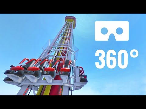 [360 degree video] Drop Tower Catapult Coaster 360° VR Flat Ride