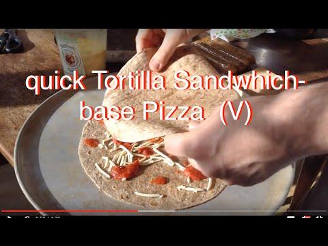 Super Quick Vegan Pizza with tortilla 'sandwich' base