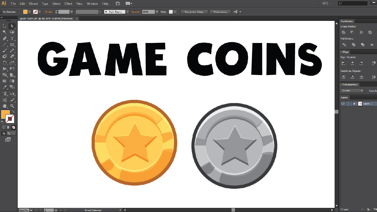 How To Create Gold Coins In Adobe Illustrator For Mobile Game Art   Intermediate[free Lecture]  Youtube