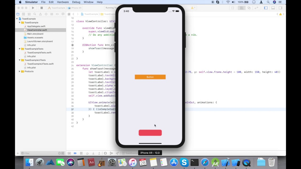 How to create Toast message in swift 4.2 iOS - YouTube