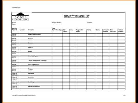 PROJECT PUNCH LIST TEMPLATE - YouTube