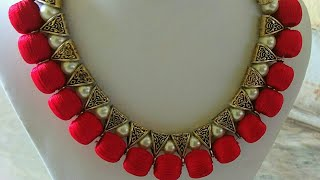 How to make silk thread beautiful red pearl bail necklace