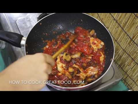 Chicken Mushroom Tomato Pasta Sauce Recipe - Super Easy N Fast