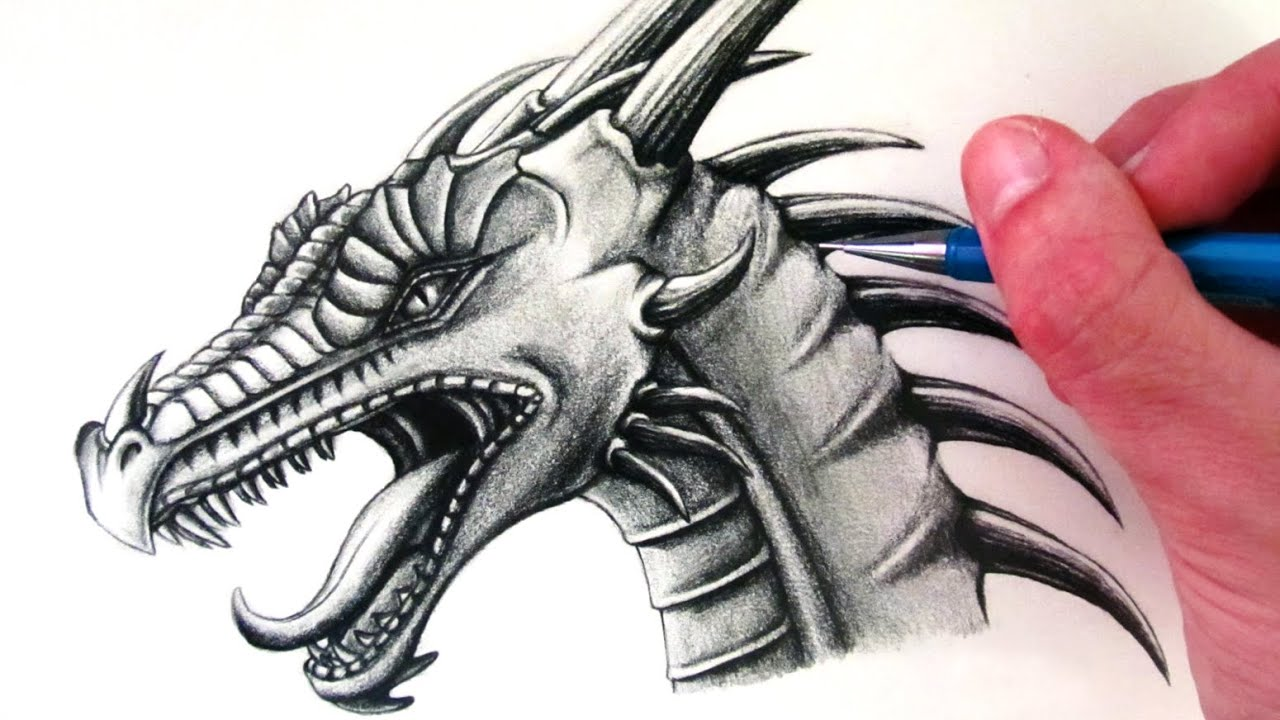 Uncategorized Dragon To Draw how to draw a dragon head youtube