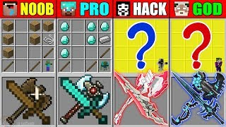 Minecraft NOOB vs PRO vs HACKER vs GOD MAGIC SWORD AXE CRAFTING MUTANT MONSTER CHALLENGE Animation
