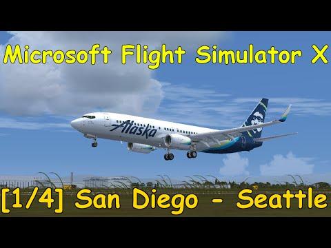Microsoft Flight Simulator X | San Diego (KSAN) - Seattle (KSEA) | PMDG 737 NGX [1/4] | English