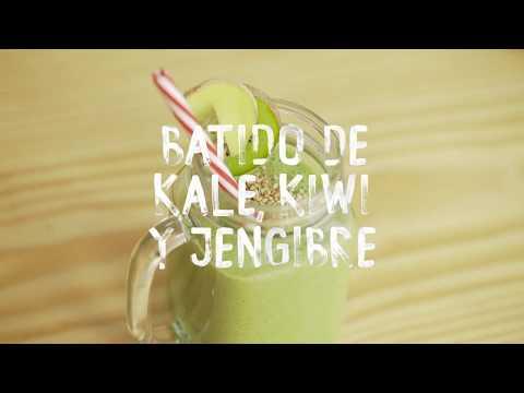Batido de kale, kiwi y jengibre (sin lactosa)