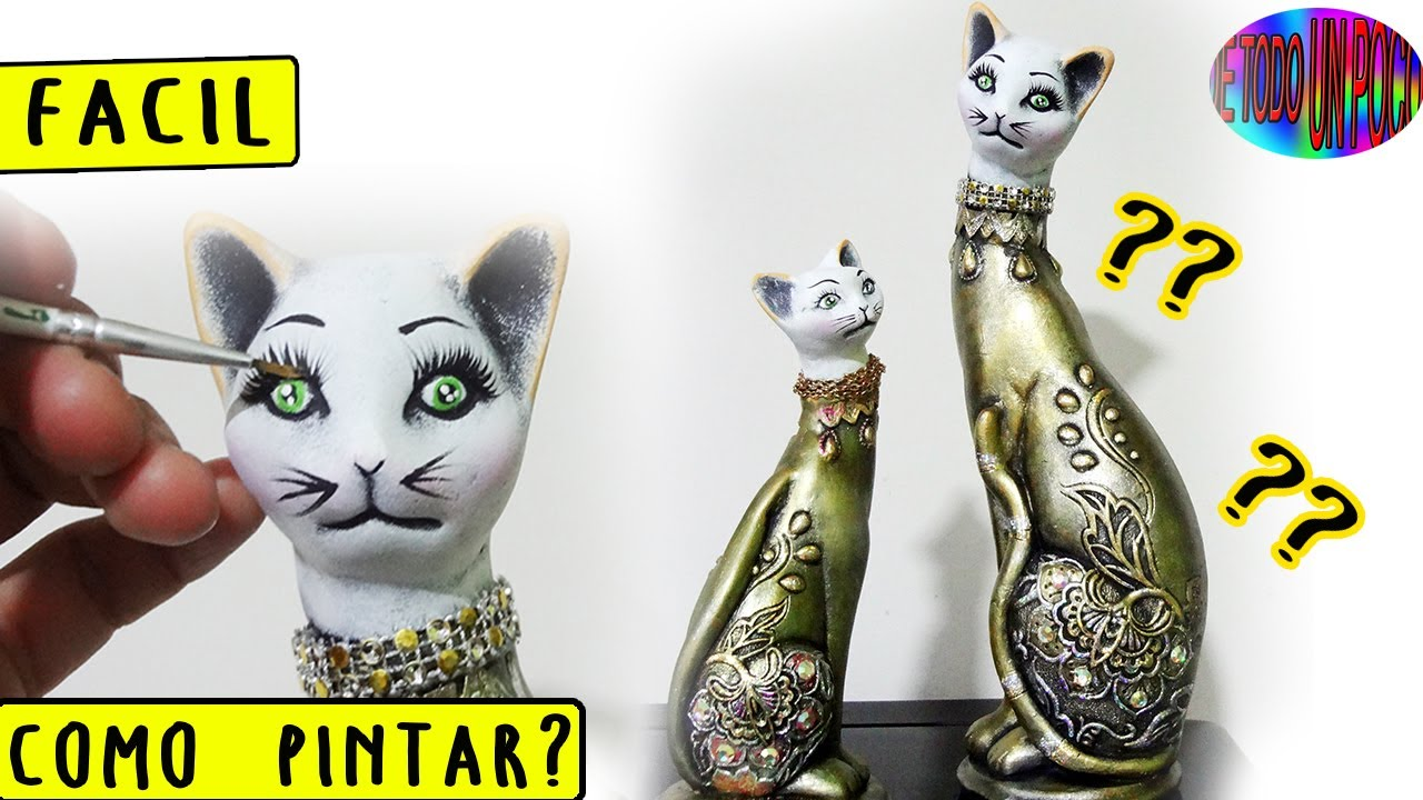 Como Pintar Ceramica Gatos Metalizados Para Centro De Mesa Decorated Cats