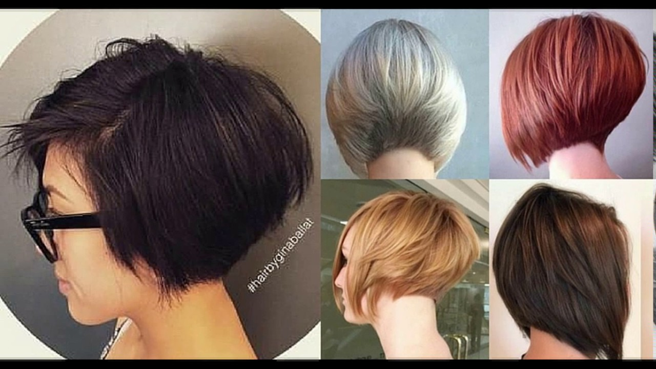 Short stacked layered bob haircut - YouTube