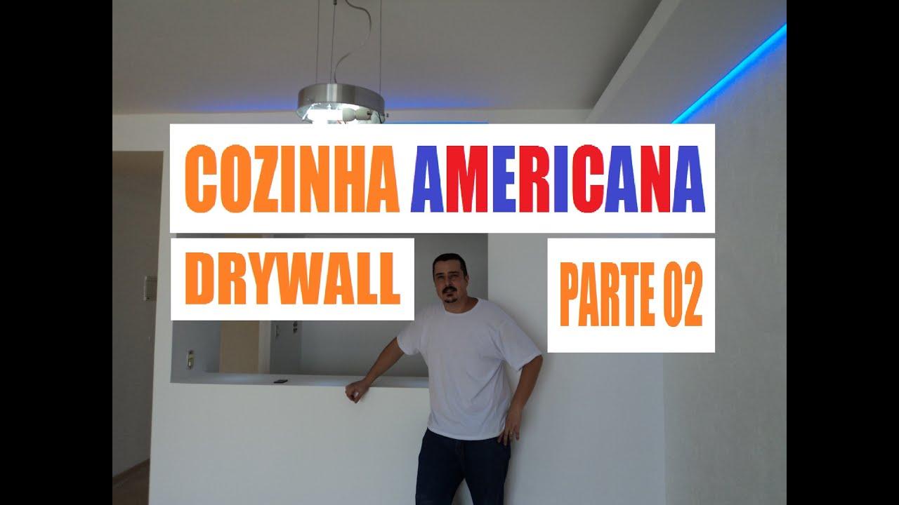 Como Fazer Cozinha Americana Drywall Parte 02   #C95402 2592 1944