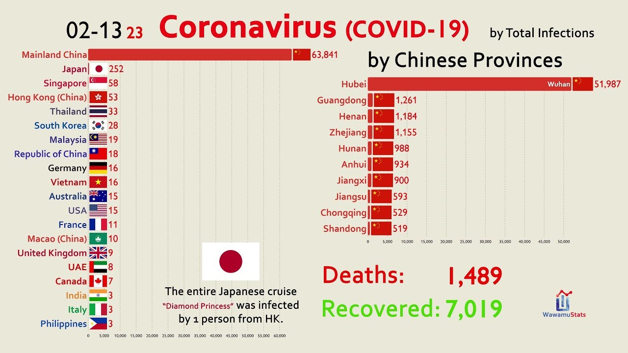 UPDATED Feb 14) The Spread of Coronavirus by Country - YouTube