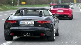 Jaguar XKR-S + 2014 Jaguar F Type S V8 - Exhaust Sounds!