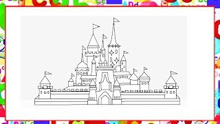 how to draw Disney Castle in MS Paint - Coloring Pages House for Kids