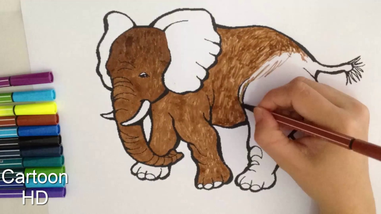 Learn Colors For Kids And Color Elephant Coloring Page 2