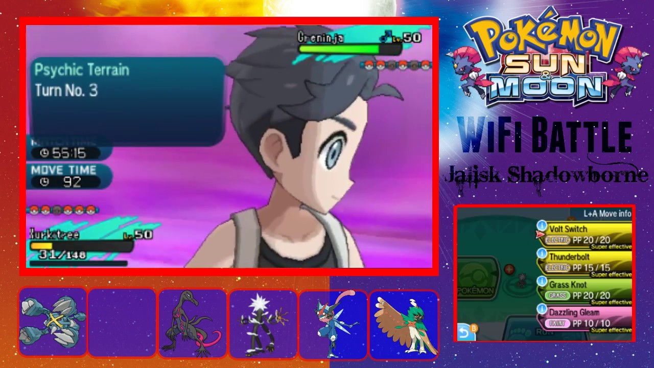 pokemon sun and moon wifi battle 9 vs kyler psychic terrain