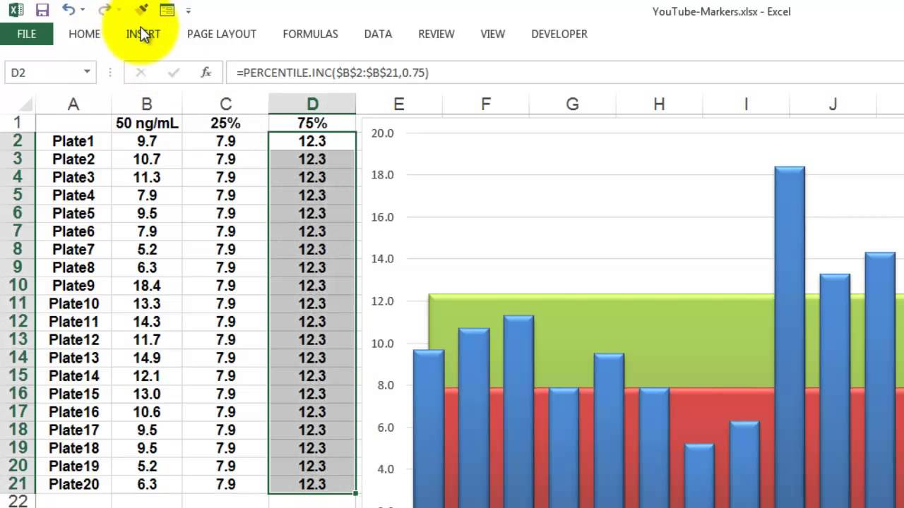 Percentile markers in an excel chart youtube