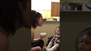 Adorable baby reacting to his mommy singing