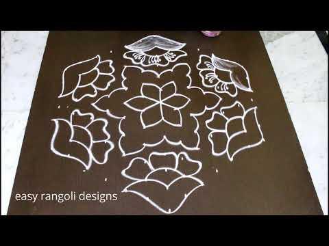 Flower kolam designs with 13x7 dots for pongal 2018 - sankranthi muggulu  easy rangoli designs