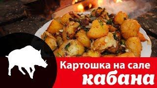Как вкусно жарить картошку в казане на костре с кабаньим салом, луком и чесноком: видео рецепт