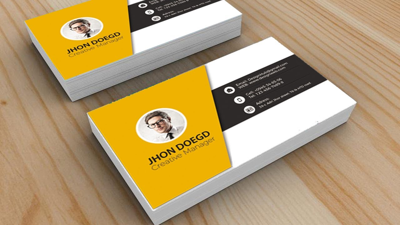 Design Cool Business Card in Photoshop | Black | Yellow | White ...