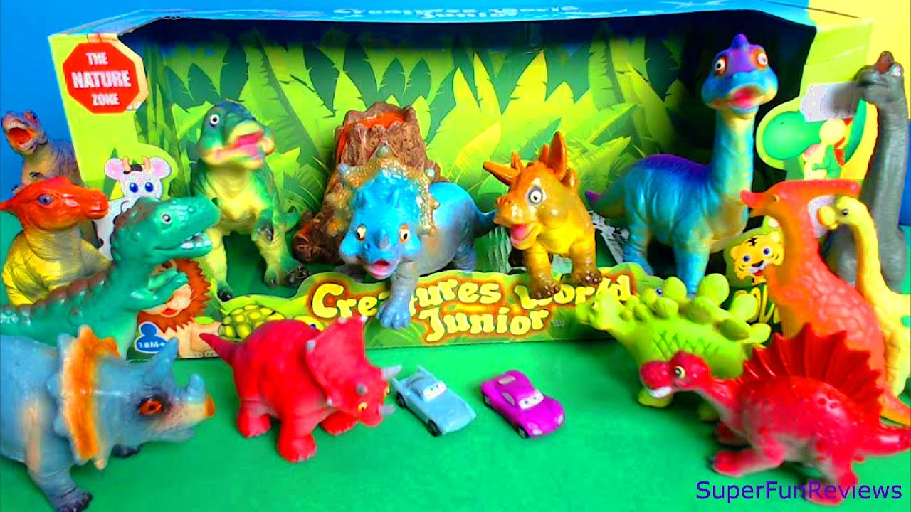 Happy Dinosaurs Cute Animals Toy Review with Volcano T Rex